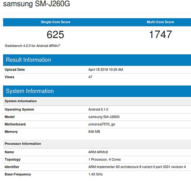 Galaxy J2 Core Spec leak